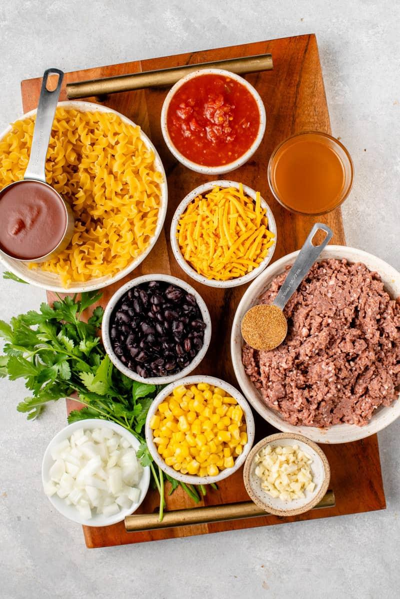 ingredient needed for creamy vegan taco pasta by sweet simple vegan