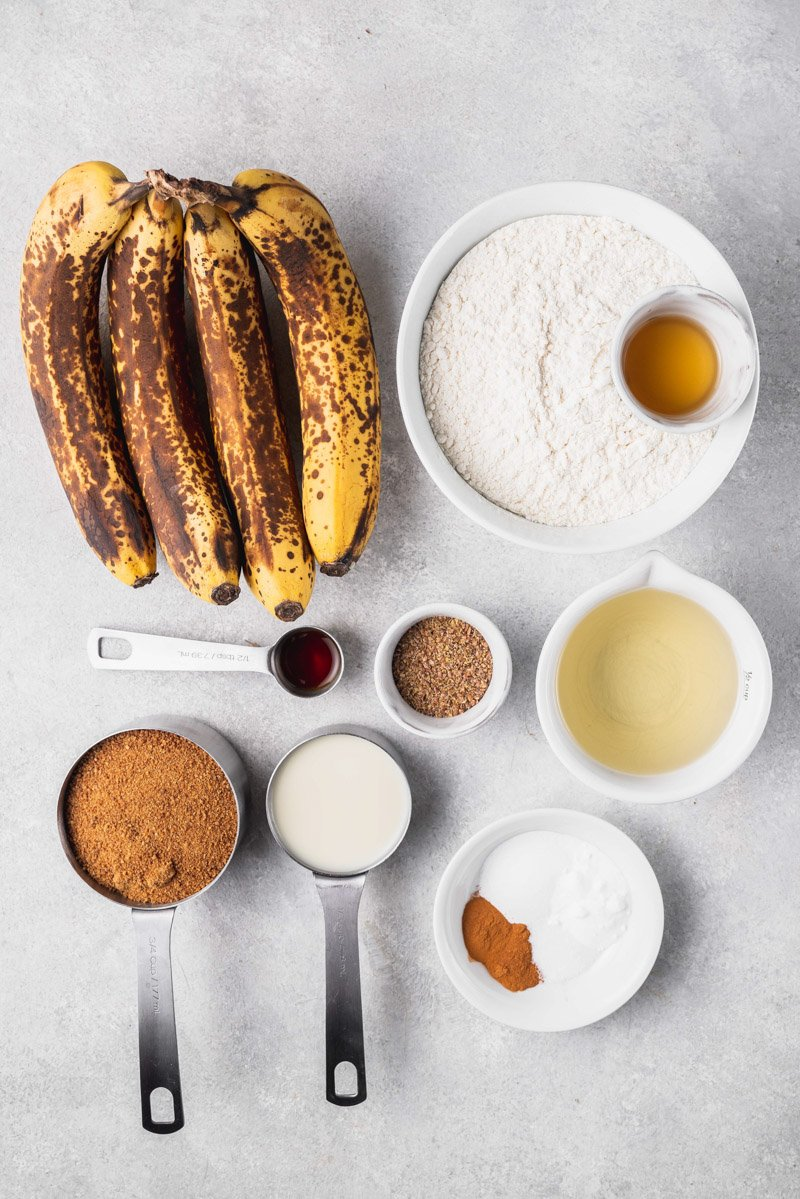 overhead image of ingredients for banana bread