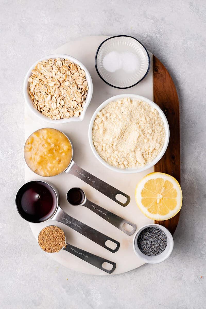 overhead image of ingredients for the lemon poppy seed breakfast cookies