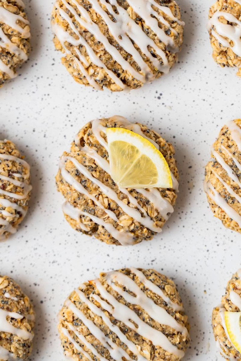 overhead image of lemon poppyseed breakfast cookies on a sheet pan