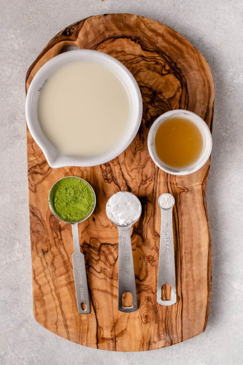 overhead image of ingredients for dalgona matcha latte