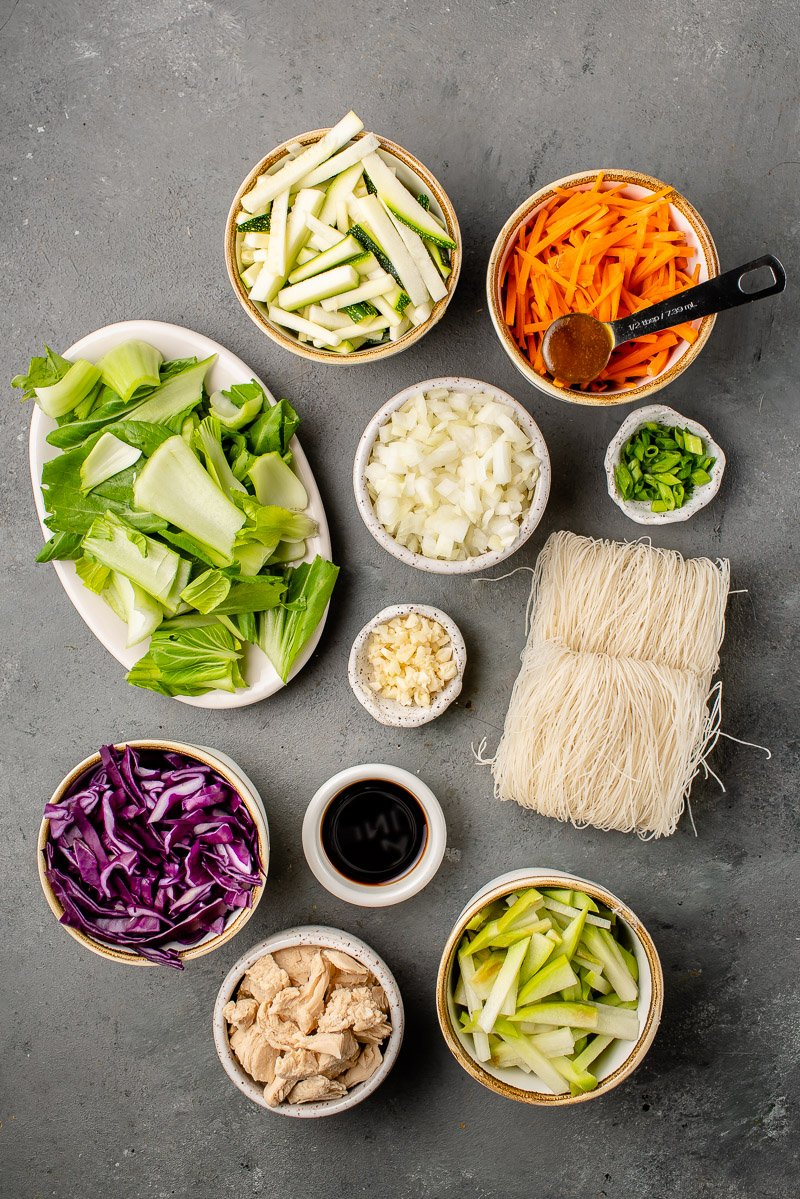 overhead image of ingredients for pancit
