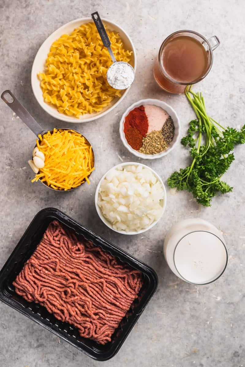 overhead image of ingredients for one pot vegan hamburger helper