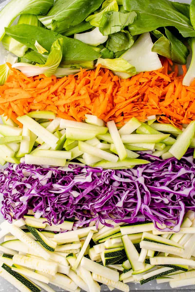 overhead image of freshly chopped veggies for filipino pancit bihon