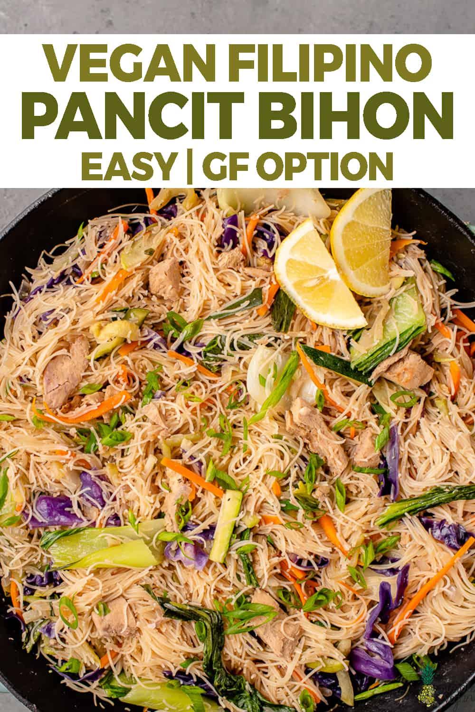 overhead image of pancit bihon in wok for pinterest