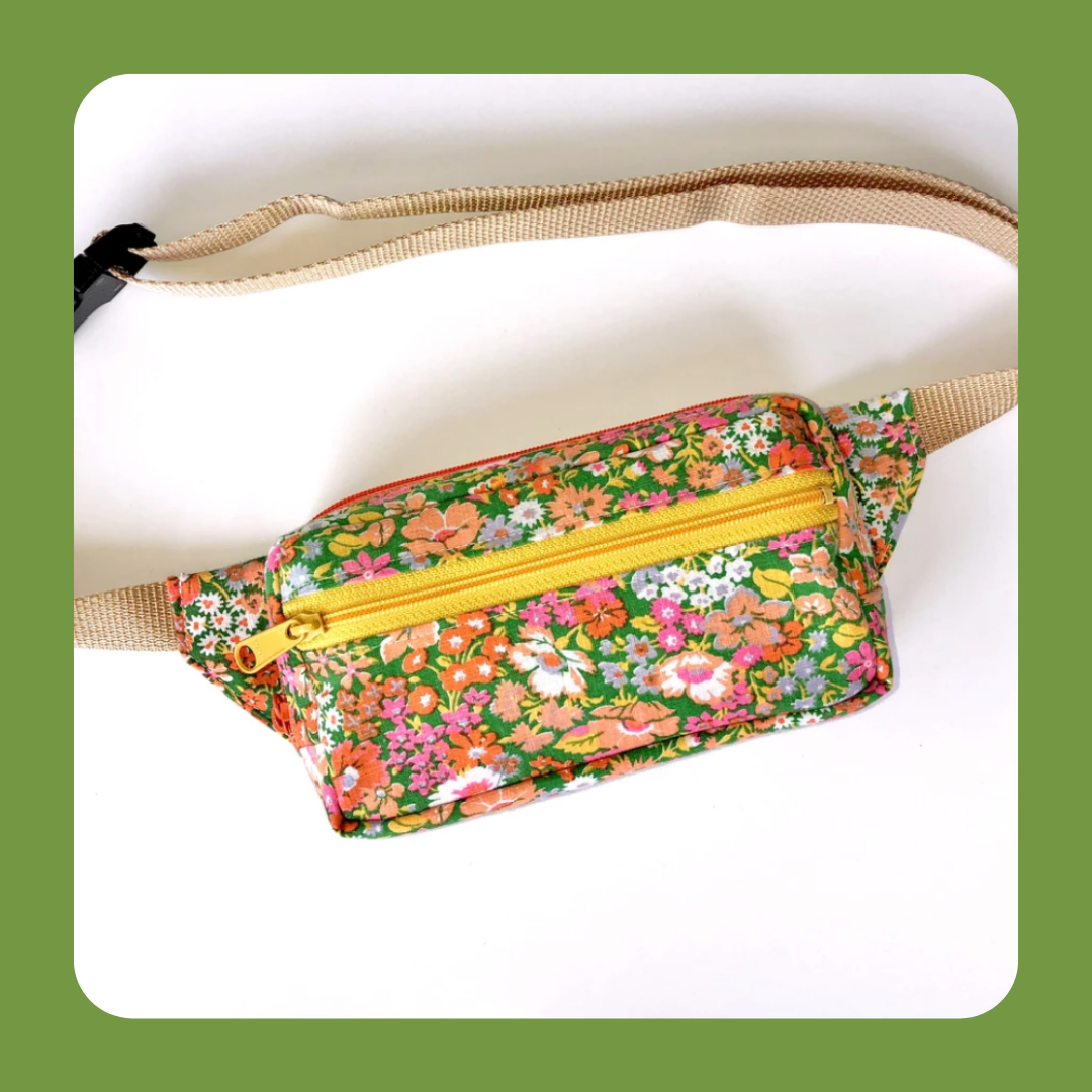 American Happy Floral Fanny Pack photo with a green border