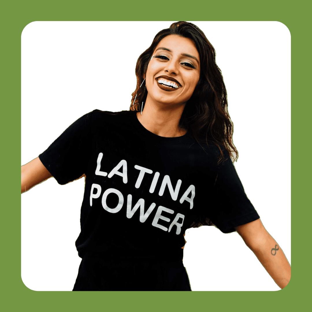 jenzeano designs latina power tshirt