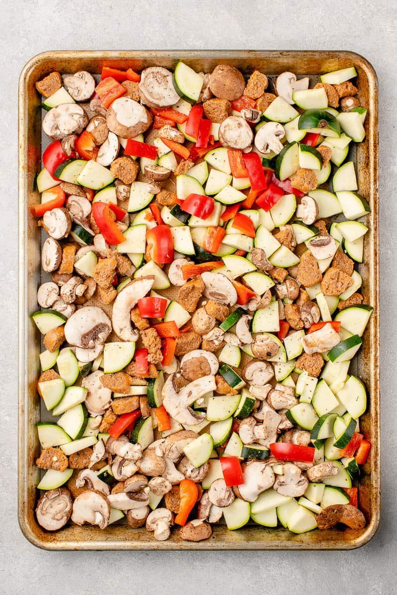 roasted vegetables before on sheet pan