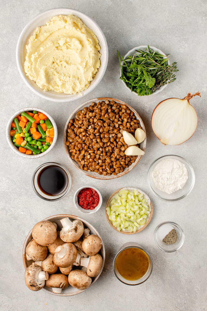 overhead image of ingredients for vegan shepherd's pie