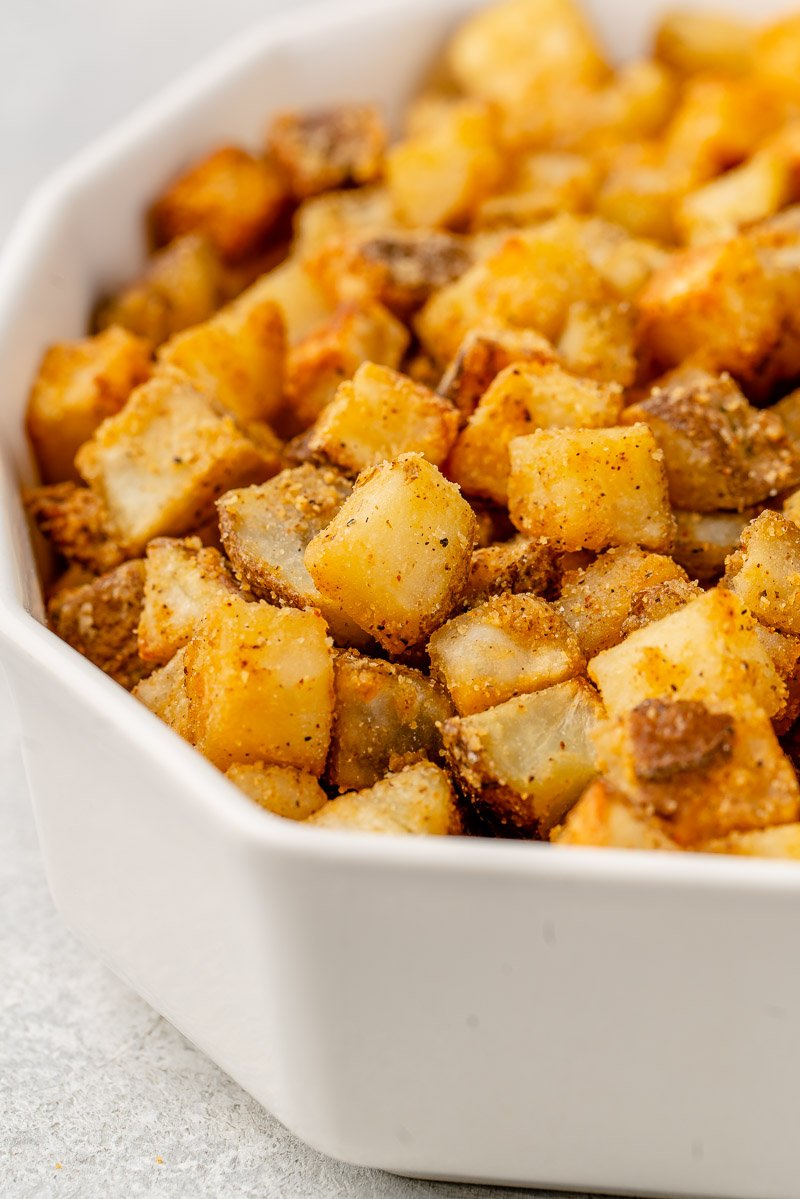 macro image of crispy fiesta potatoes