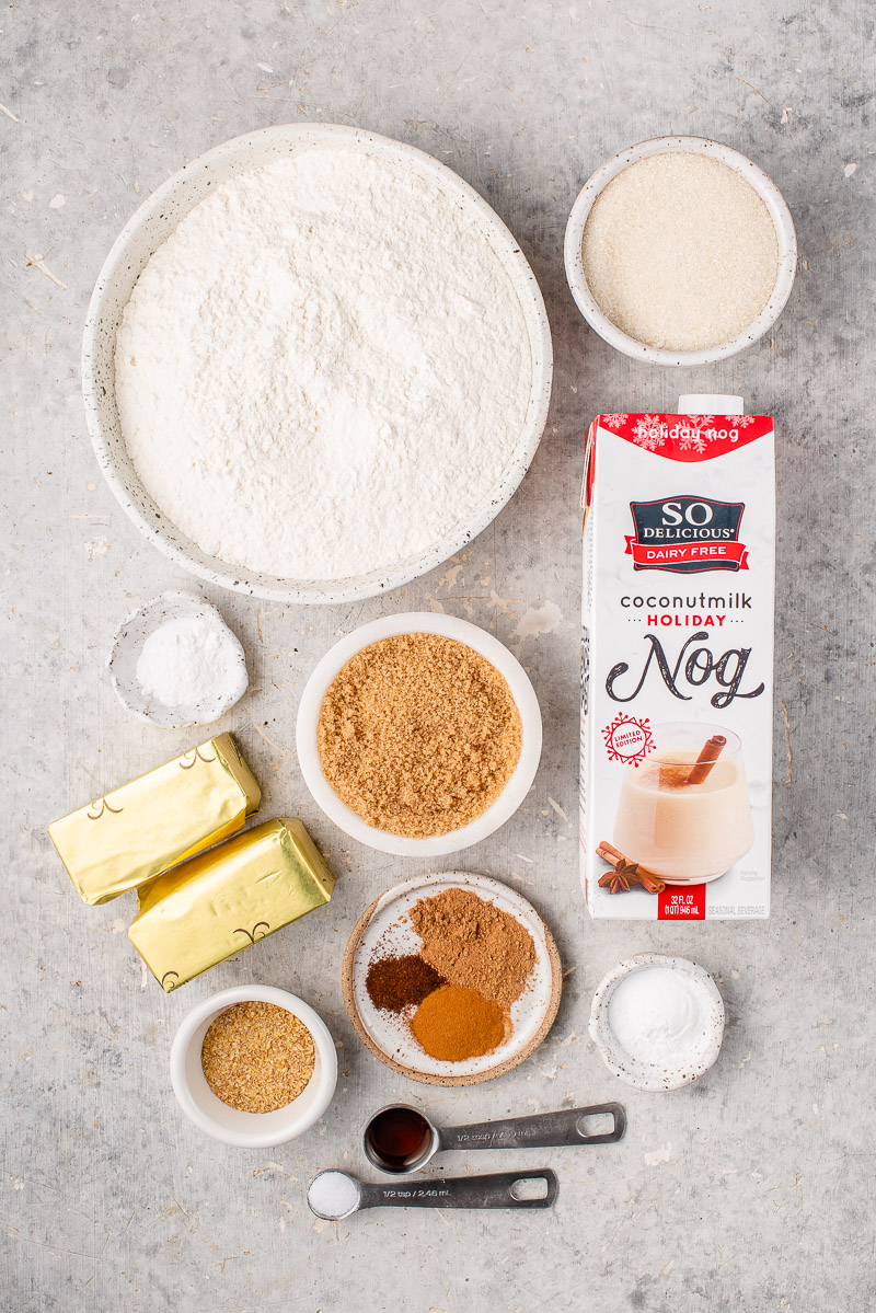 ingredients for vegan eggnog snickerdoodle cookies on a grey board