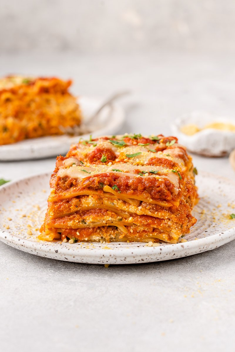 image of lasagna cut on a plate