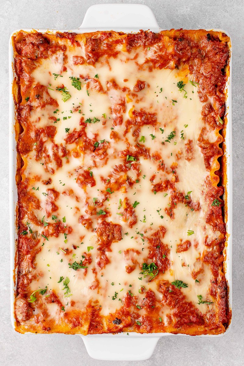 overhead image of lasagna baked