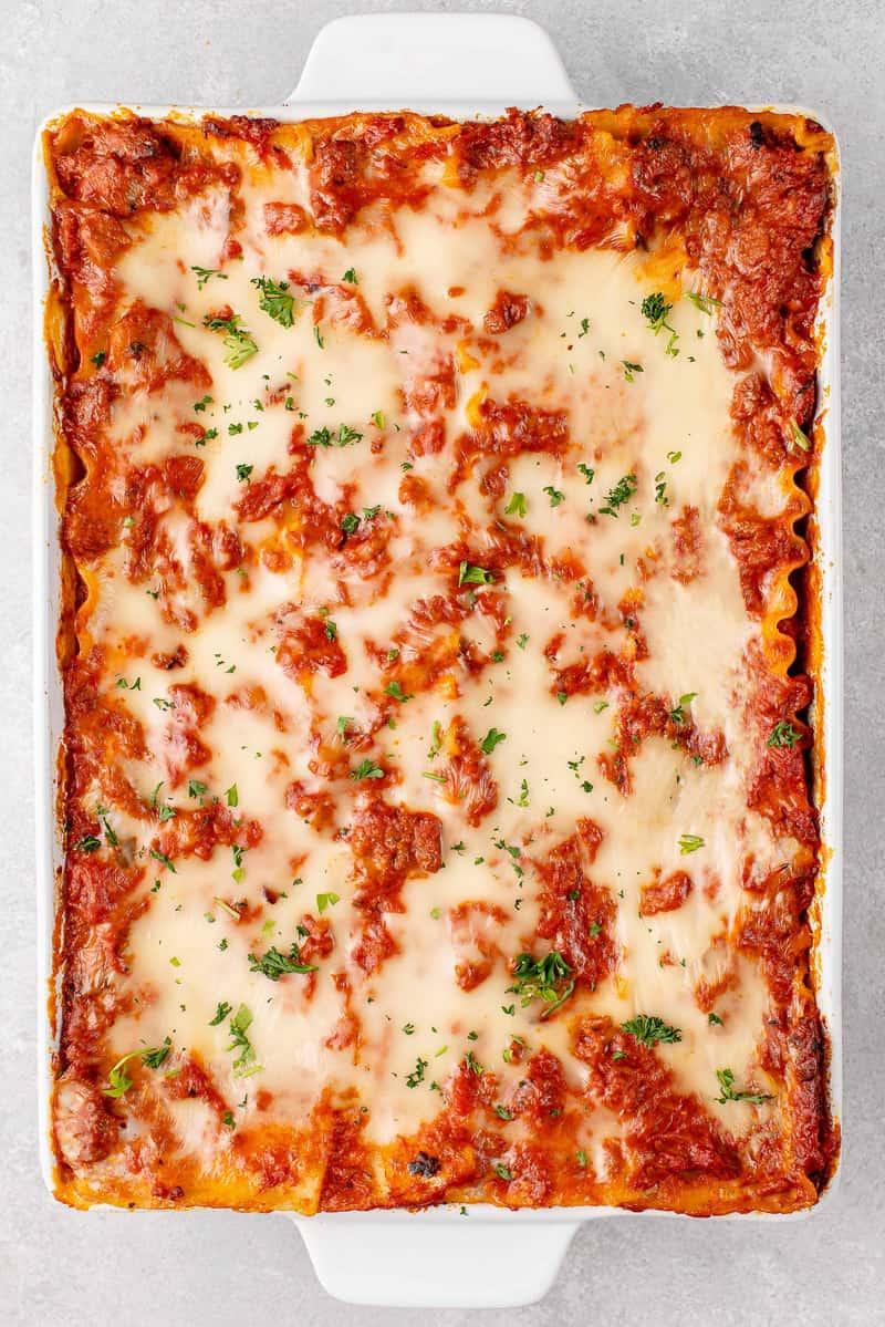 overhead image of lasagna baked