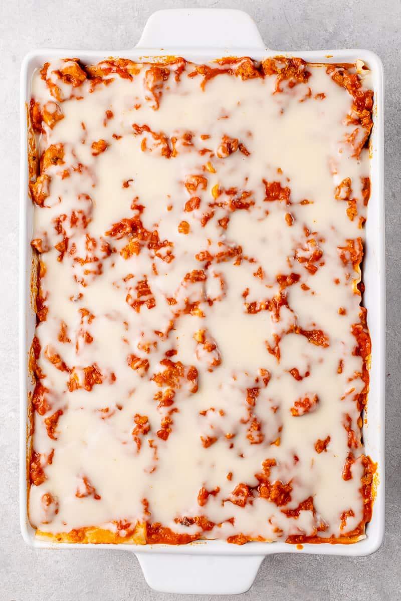 overhead image of lasagna uncooked