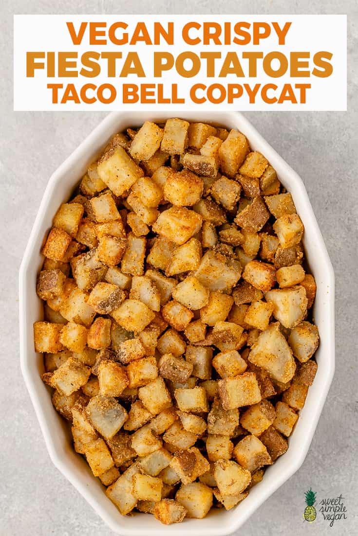 overhead image of crispy fiesta potatoes in dish for pinterest