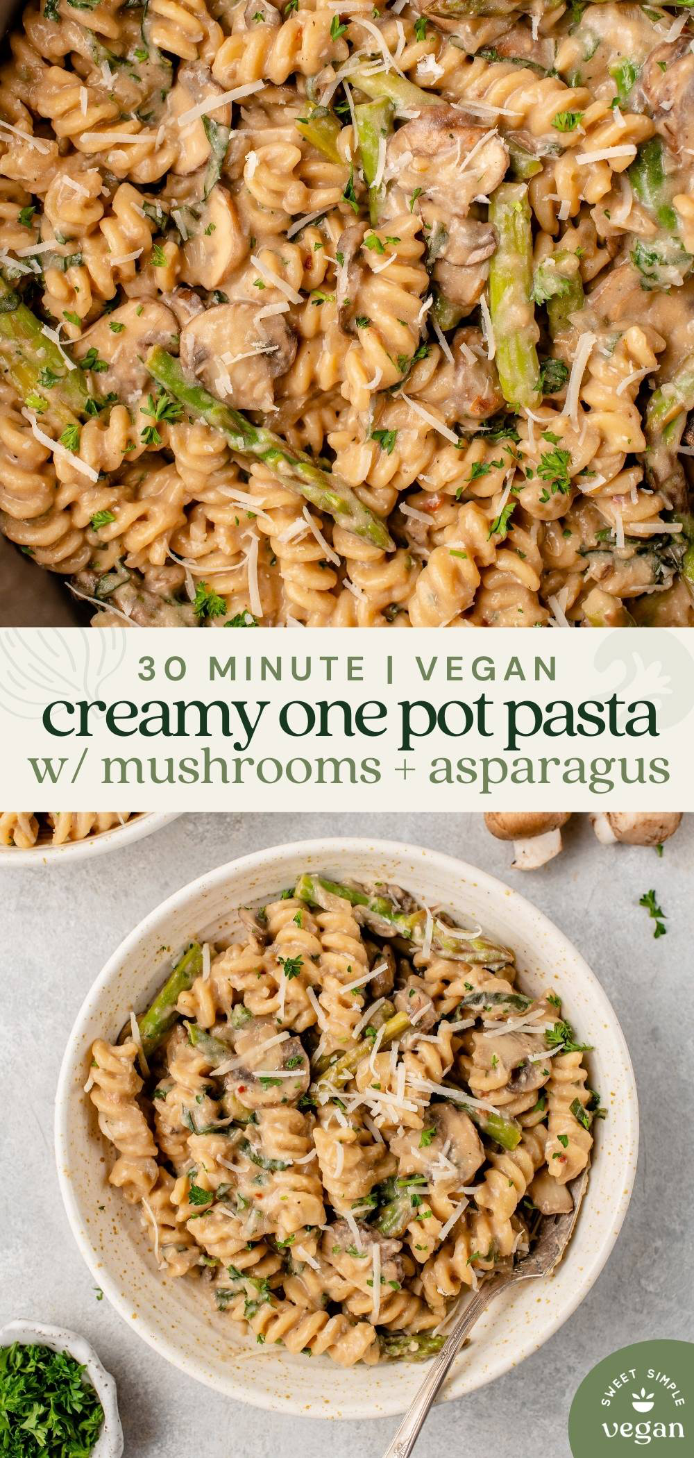macro image of creamy one pot pasta topped with vegan parmesan and bowl of pasta for pinterest