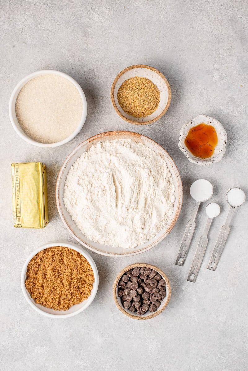 ingredients for vegan chocolate chip skillet cookie