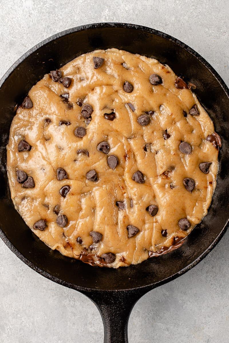 unbaked vegan chocolate chip skillet cookie