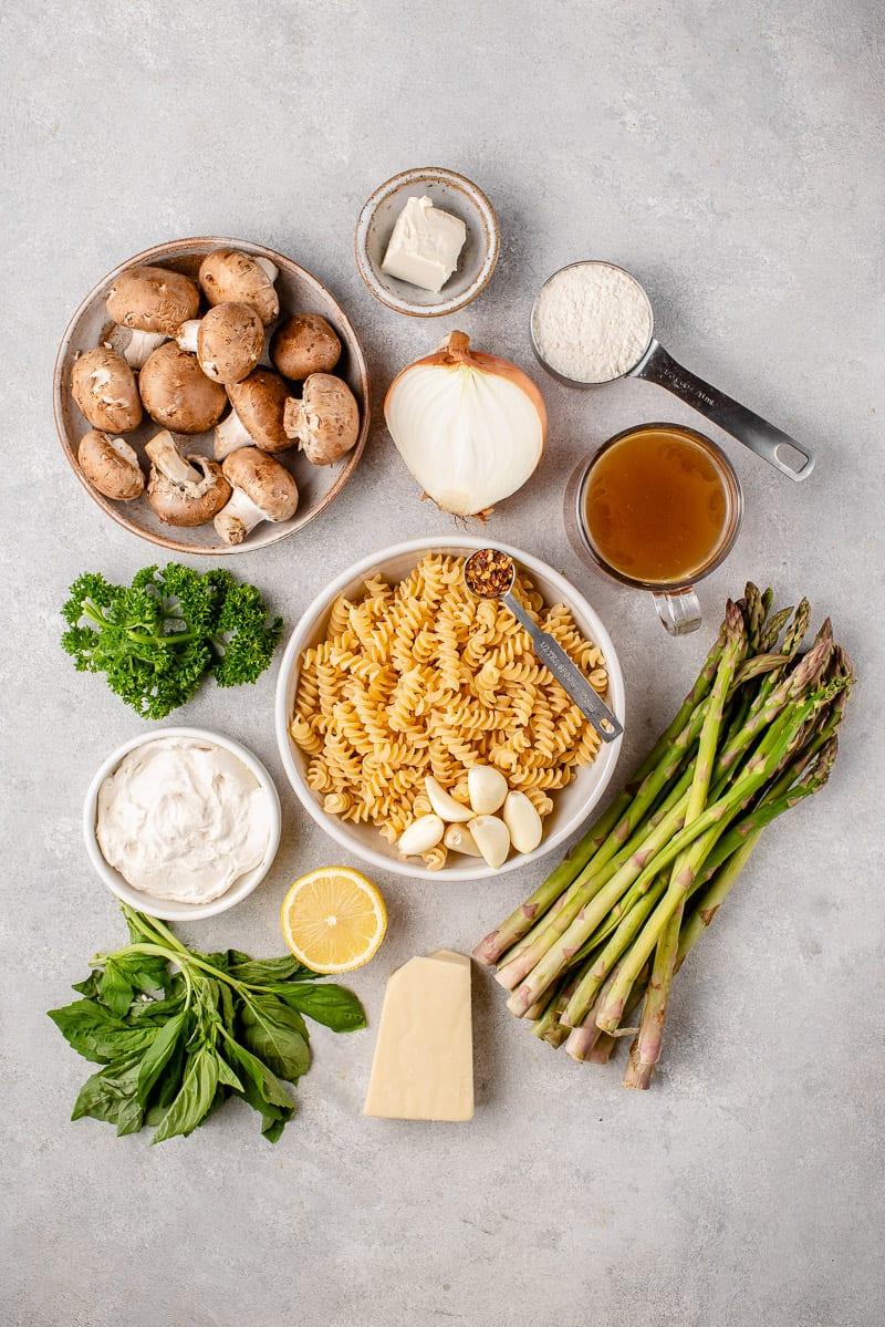 creamy-one-pot-pasta-mushrooms-asparagus-sweet-simple-vegan-ingredients