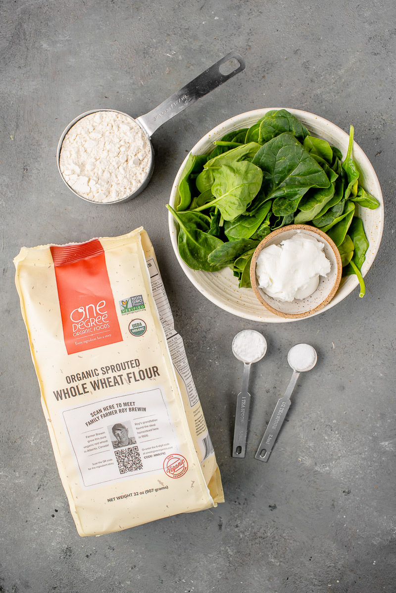 ingredients to make whole wheat spinach tortillas