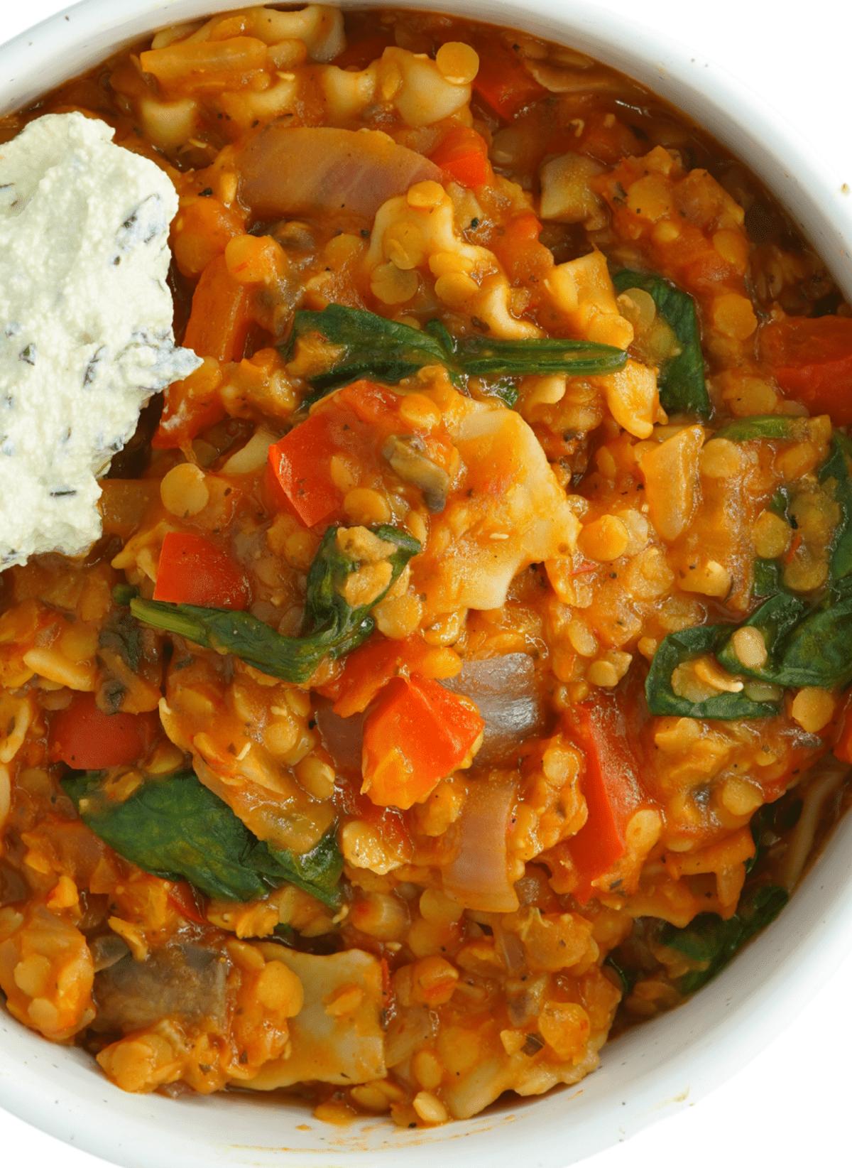close up shot of Vegan Lasagna Soup