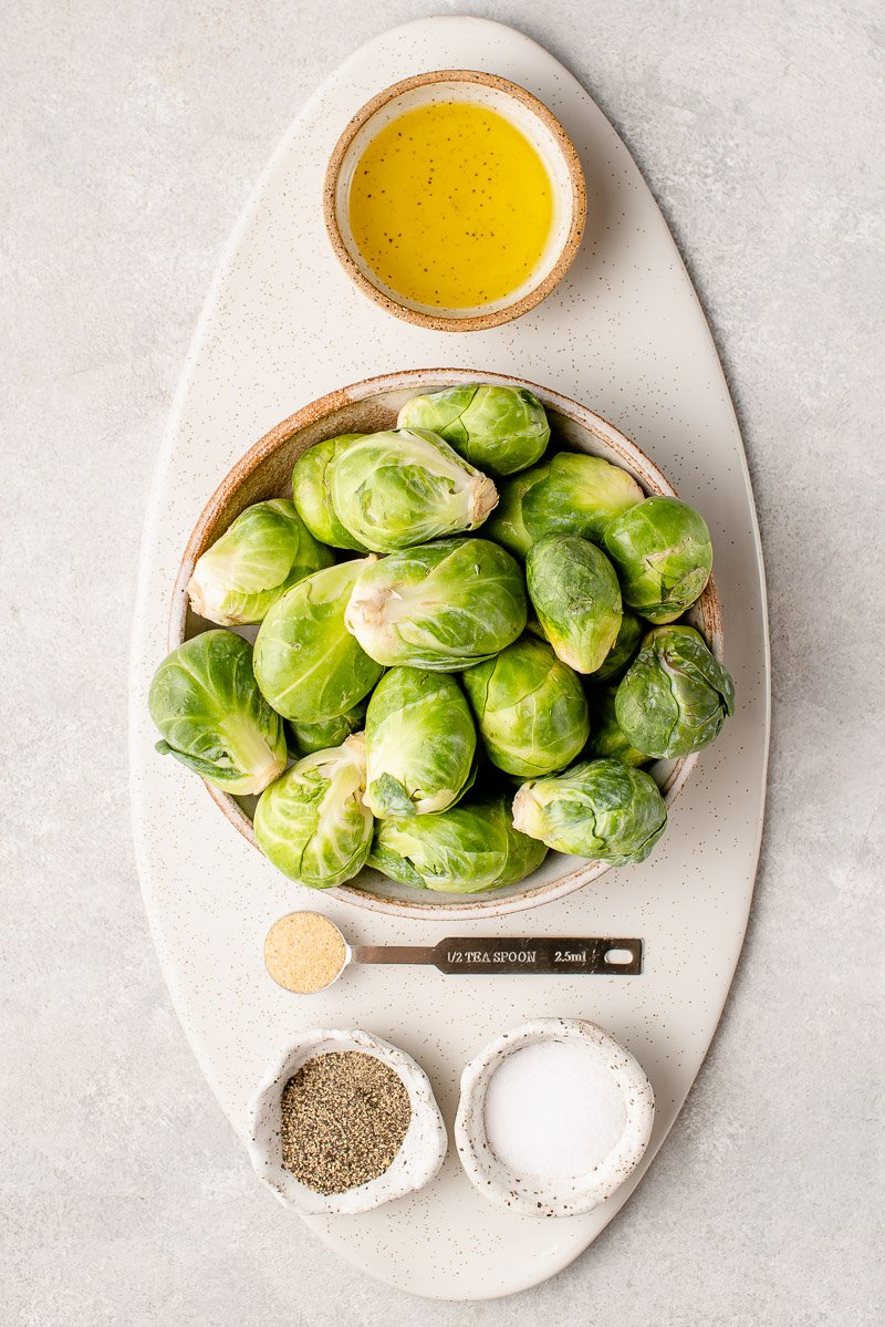 overhead image of ingredients for brussels sprout chips