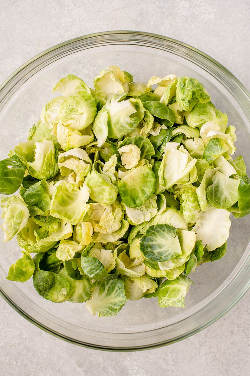 overhead image of brussels sprout leaves