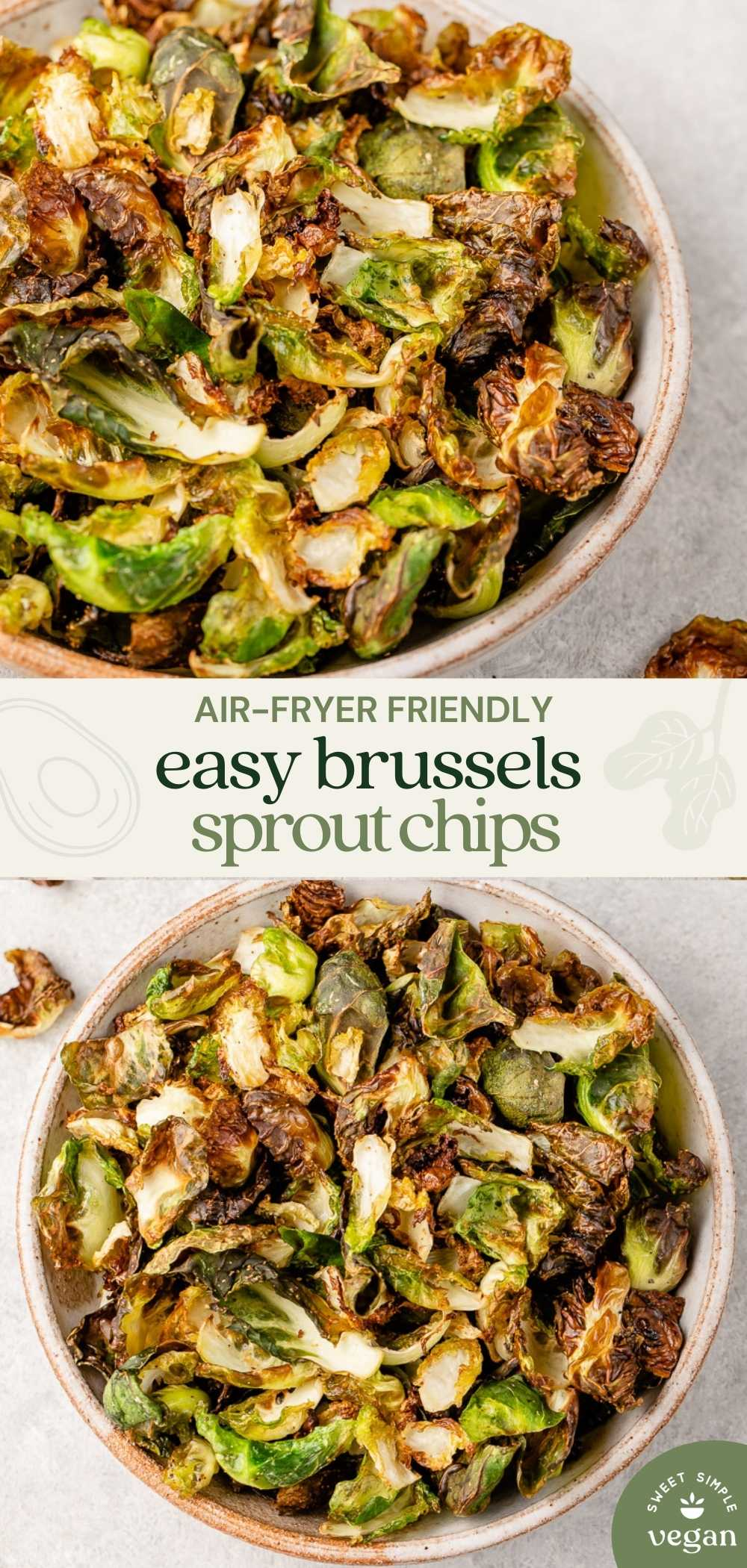image for pinterest with bowl of brussels sprout chips and text