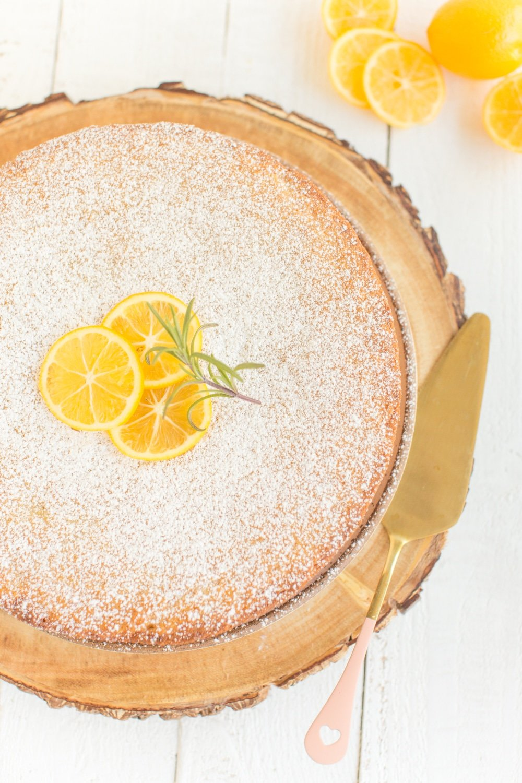 overhead image of lemon olive oil cake.