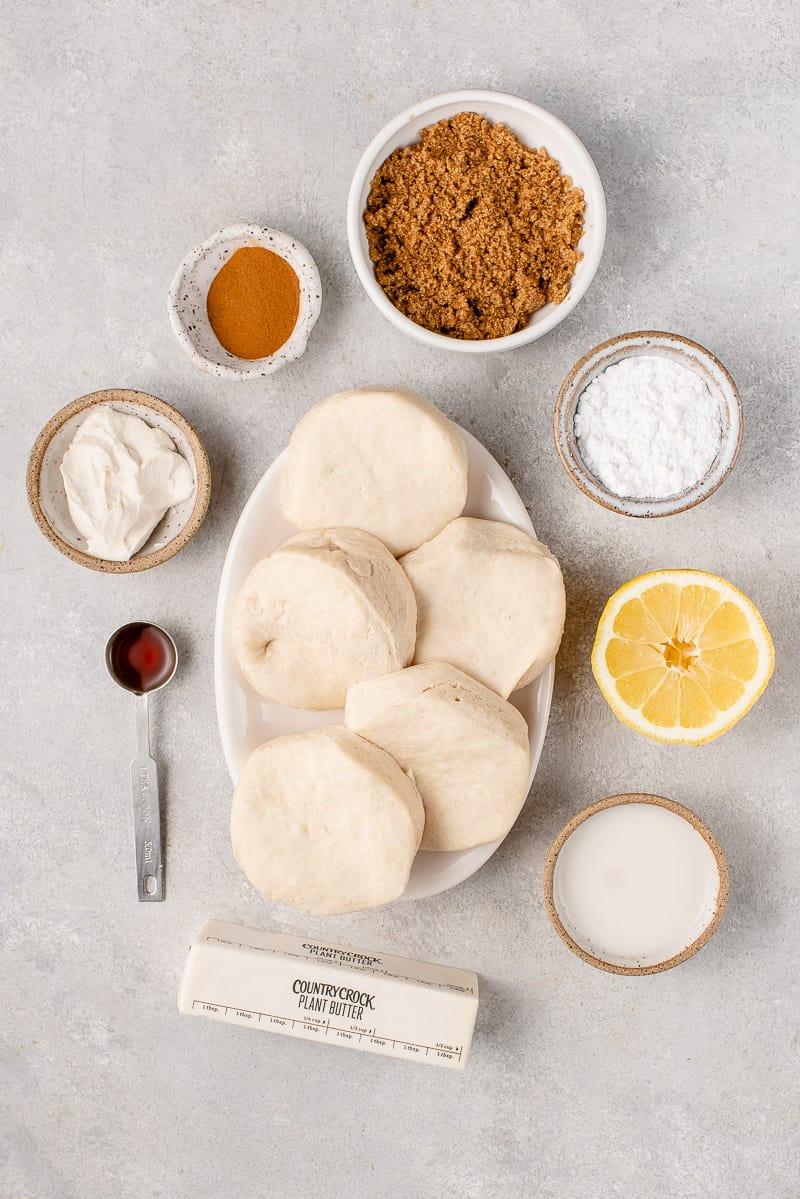 overhead image of ingredients for cinnamon rolls