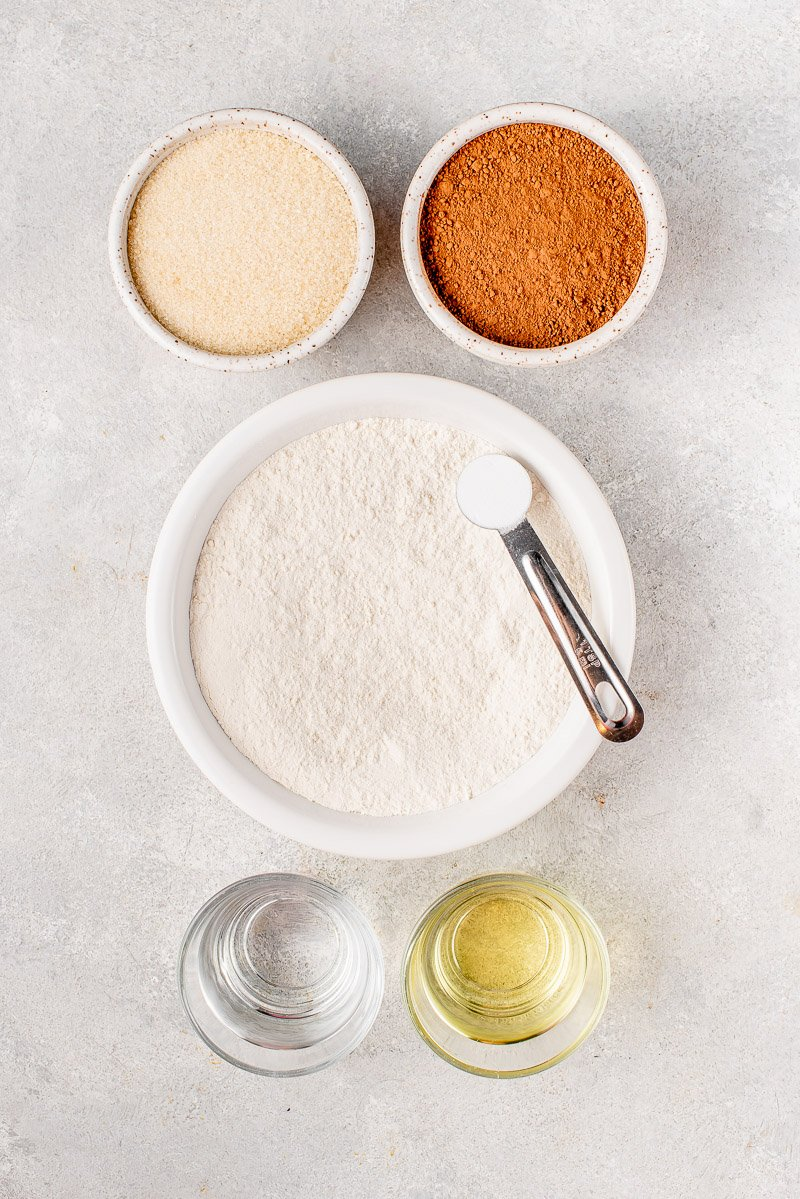 overhead image of ingredients for chocolate cake