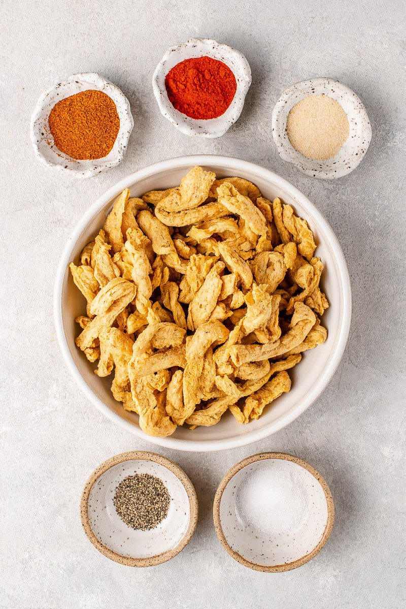 ingredients for Cajun-Style Fettuccine Alfredo with Blackened Vegan Chicken