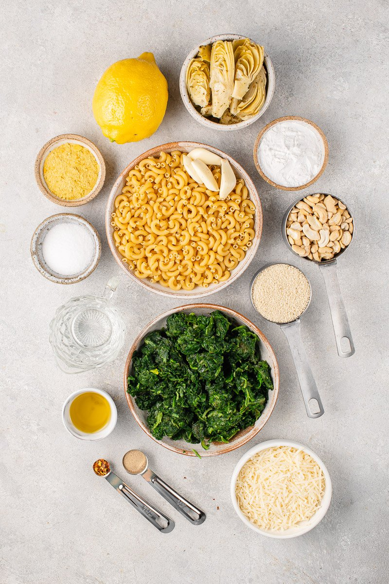 ingredients for baked spinach artichoke mac and cheese