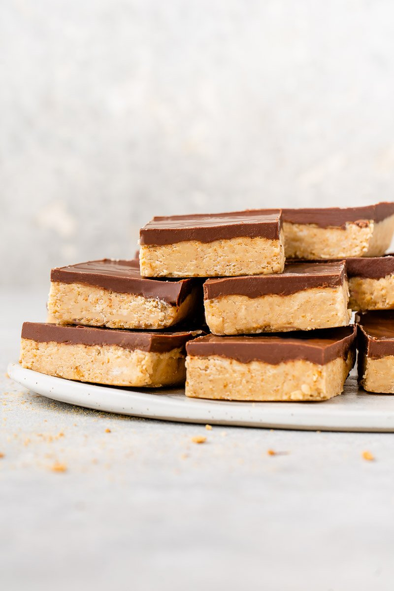 straight forward image of easy chocolate peanut butter squares.