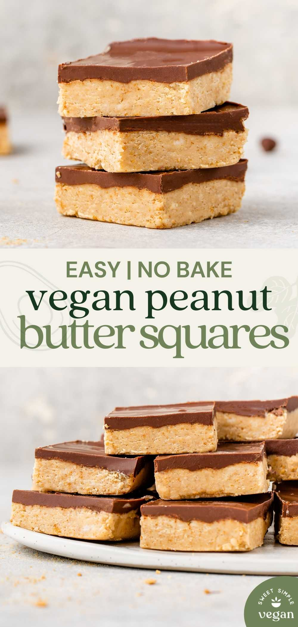 macro image of easy peanut butter squares stacked with full try of bars below for pinterest