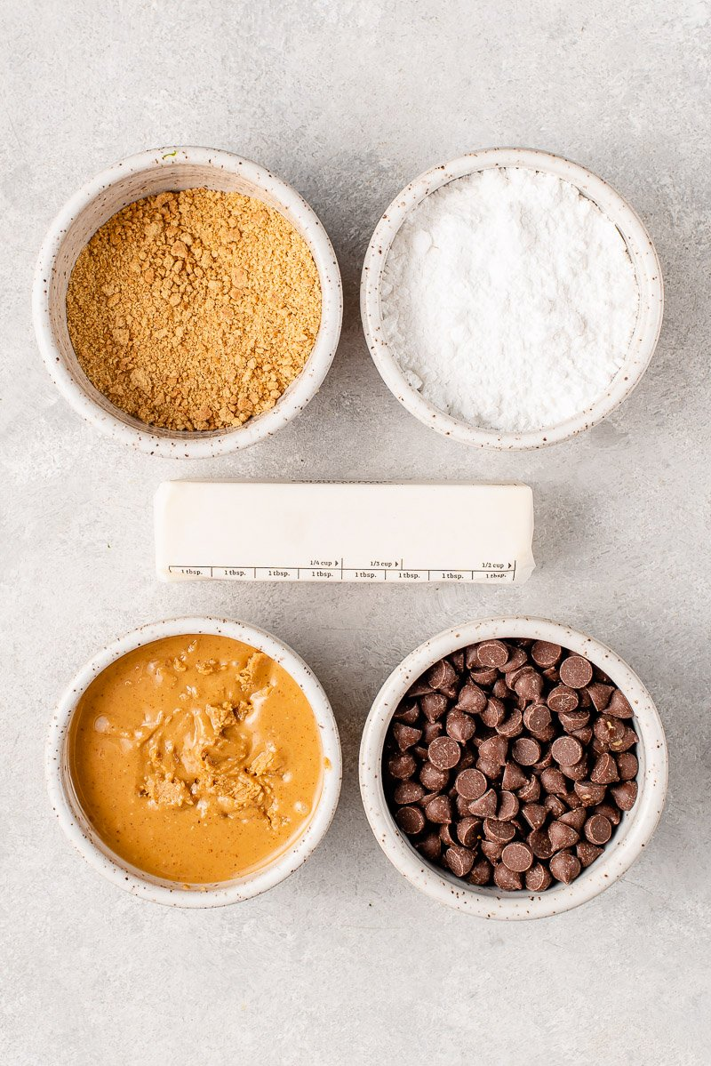 overhead image of ingredients of peanut butter squares