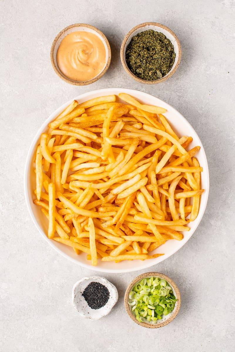 overhead ingredients for tokyo street fries