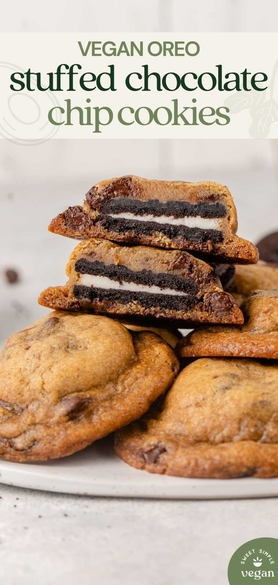 pinterest image of oreo stuffed chocolate chip cookies on plate