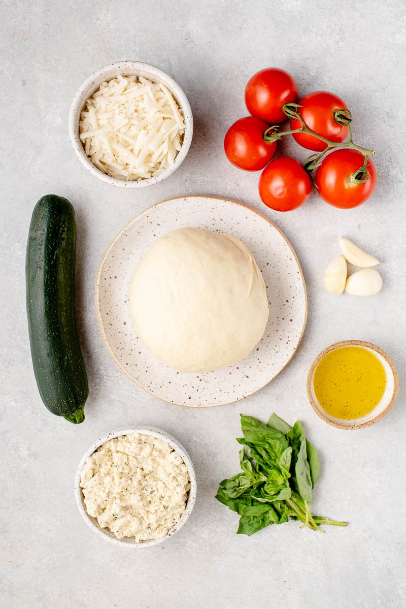 overhead photo of ingredients on light background