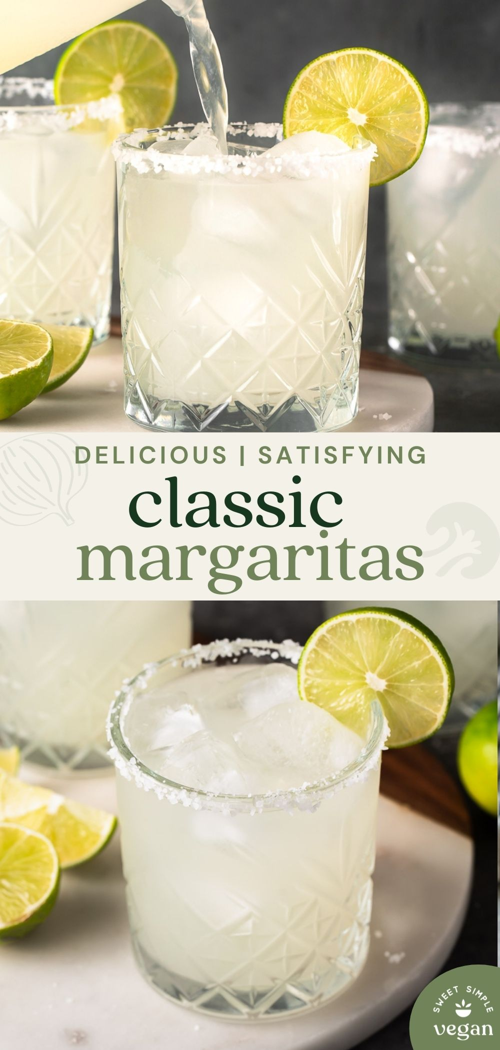 two images of margaritas in glasses and one being poured for pinterest