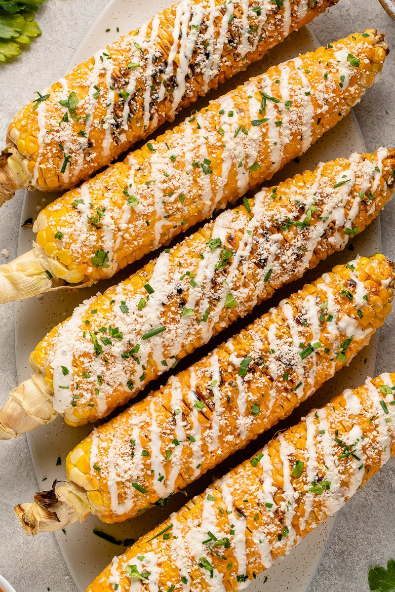 grilled buffalo corn with parmesan, ranch, parsley and chives