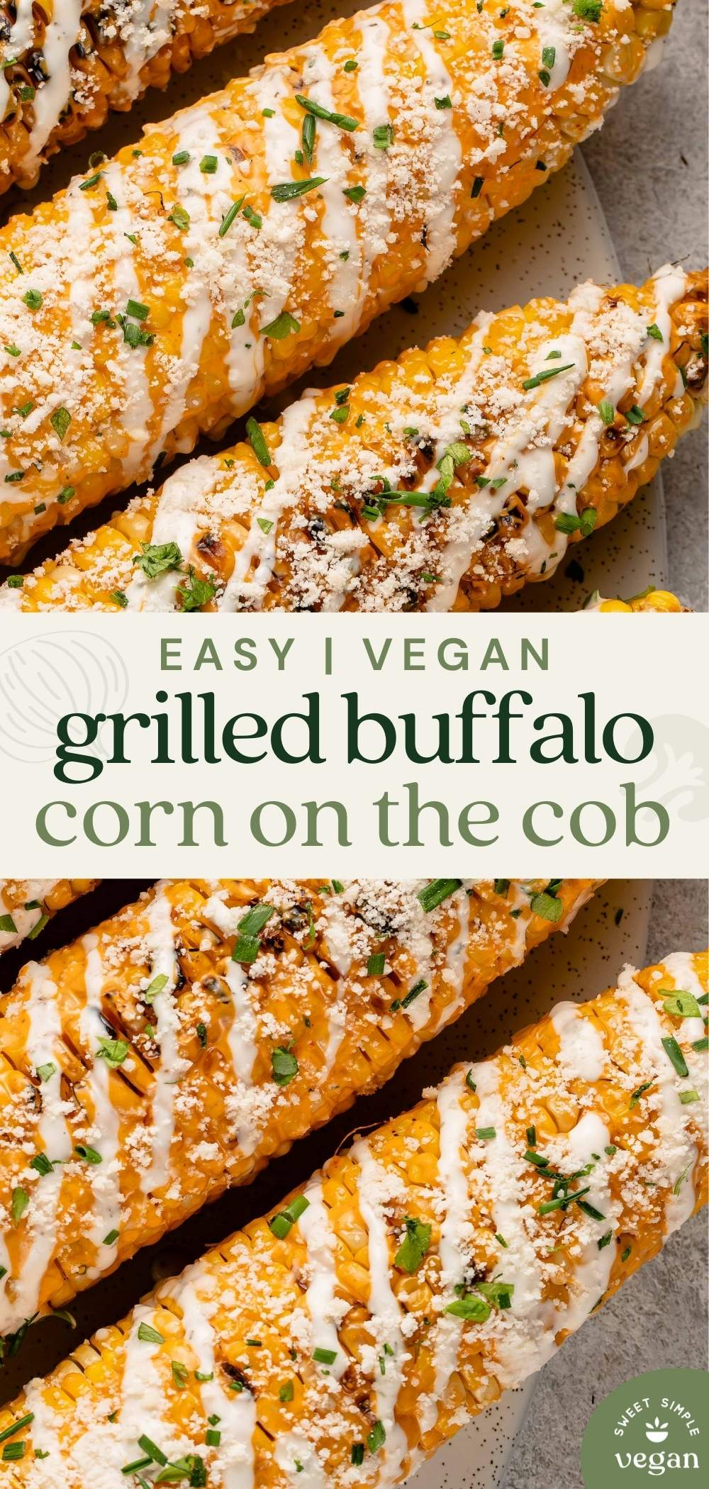 grilled buffalo corn with parmesan, ranch, parsley and chives for pinterest