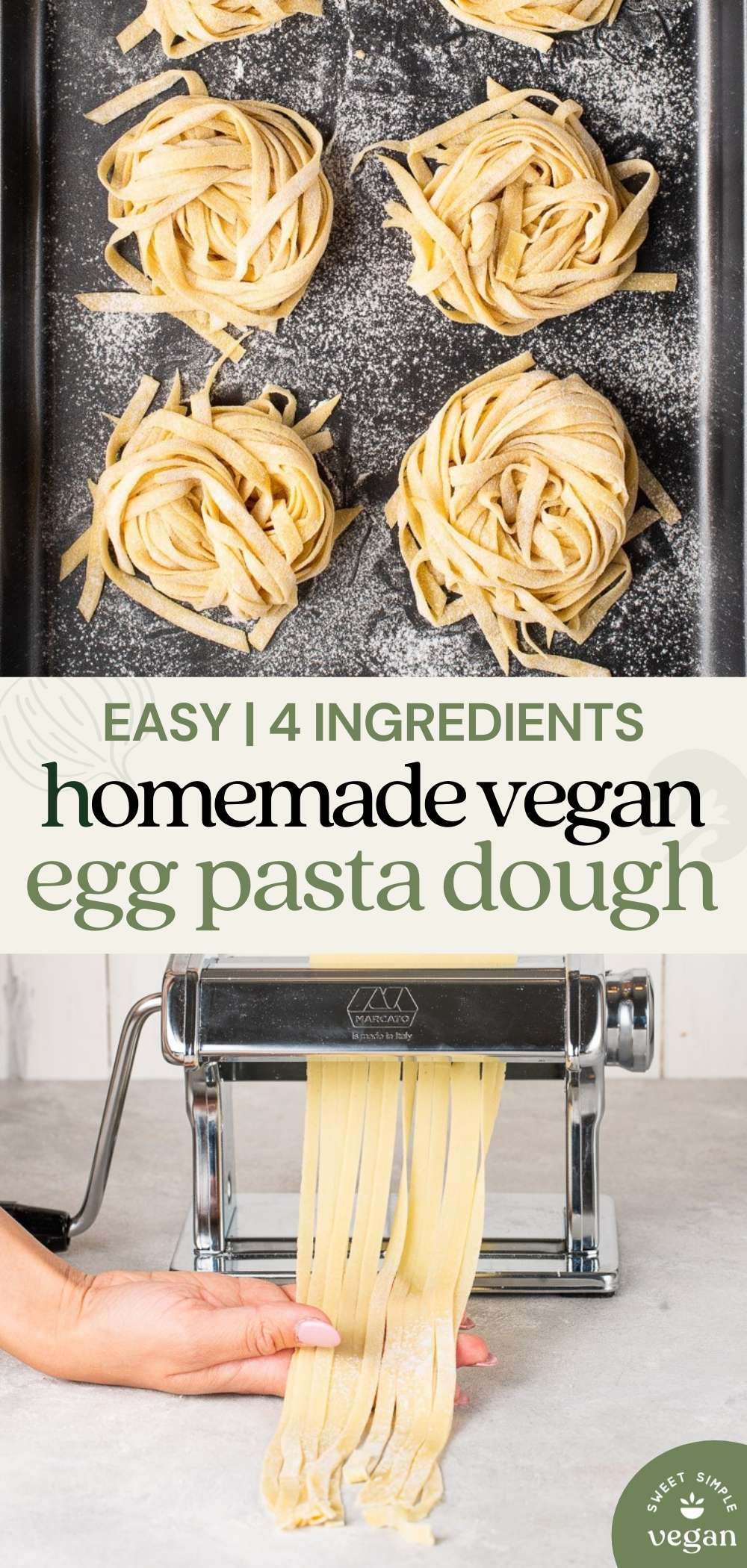 two pasta images with text for pinterest
