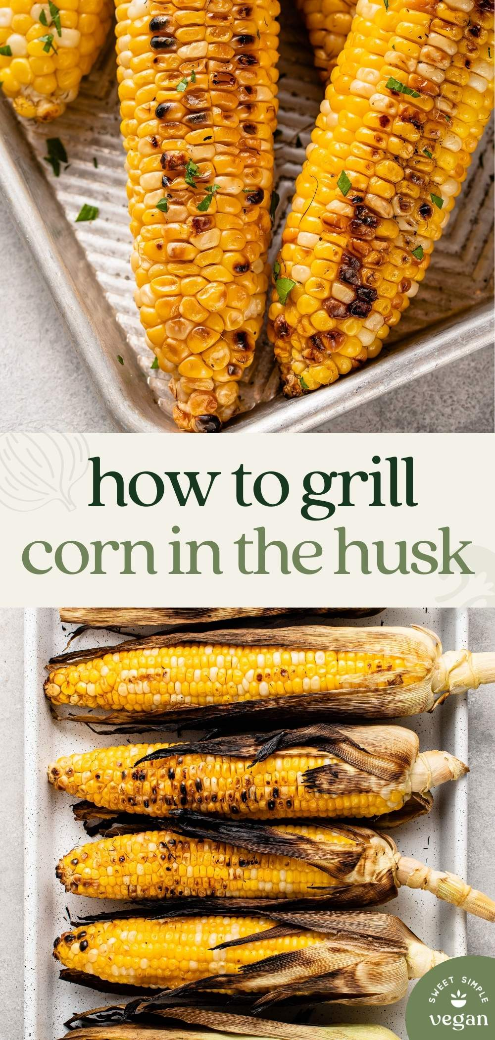grilled corn on a baking sheet with butter and parsley for pinterest