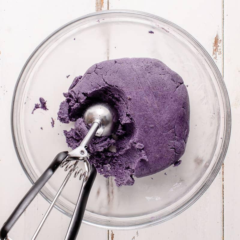 step by step vegan ube cookie dough