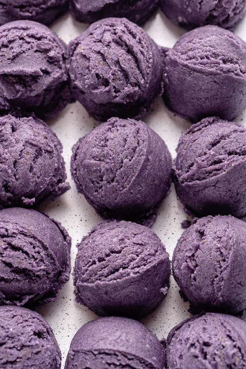 vegan ube sugar cookie dough mounds