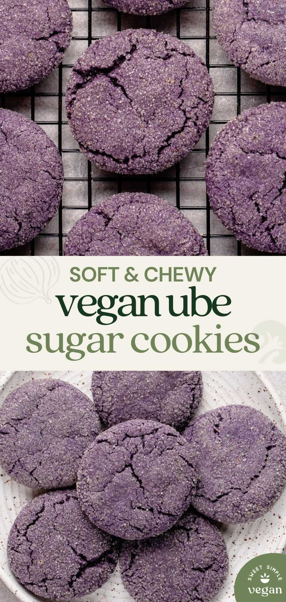 pinterest image with text and image of cookies on plate and on cooling rack.