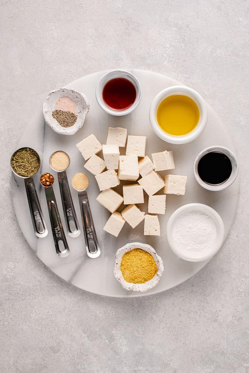overhead image of ingredients on white slab