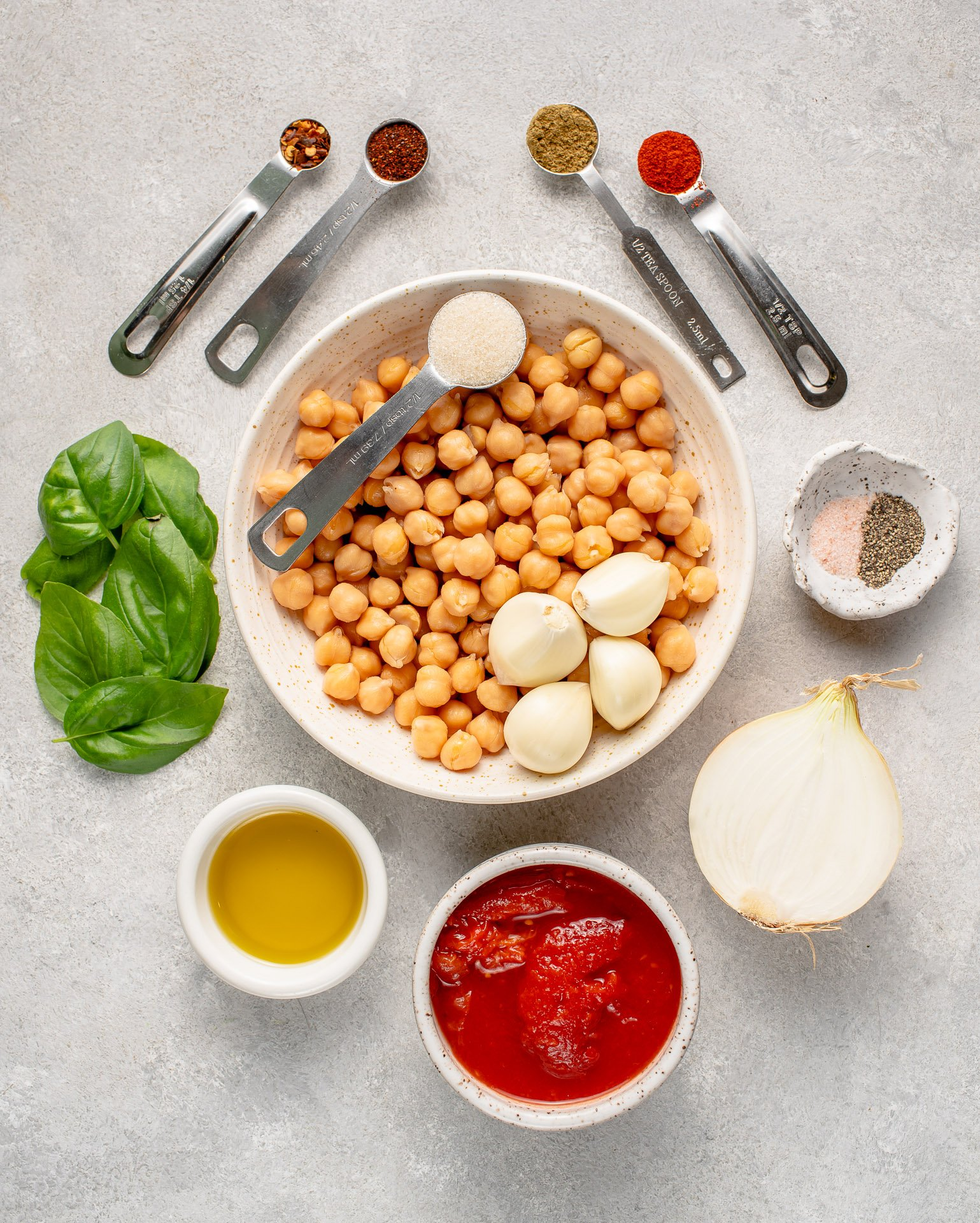 ingredients for spiced chickpea and tomato toast
